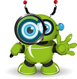 Робот с лупой Стоковое Изображение RF