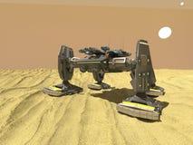 Робот танка в пустыне, 3d, представляет иллюстрация вектора