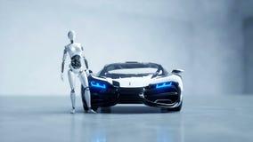 Робот футуристического гуманоида женский и автомобиль fi sci Реалистические движение и отражения Концепция будущего отснятый виде иллюстрация штока