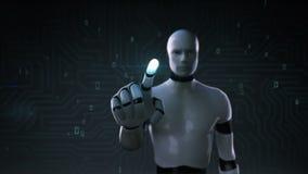 Робот, экран киборга касающий, искусственный интеллект, компьютерная технология, наука гуманоида 1 иллюстрация штока