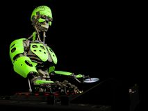 Робот DJ - Зеленый цвет Стоковые Изображения RF