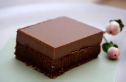 Ровный, сметанообразный, и дополнительный торт fudge двойника шоколада chocolatey стоковое фото rf