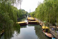 Ров города который бежит вокруг старого города Jinan, Китая Стоковые Изображения RF