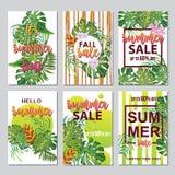 6 рогулек скидки с тропическими листьями Стоковая Фотография RF