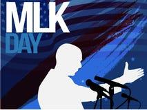 Рогулька, знамя или плакат дня Мартин Лютер Кинга Предпосылка праздника с развевая флагами, текстом и руками вверх Иллюстрация ве Стоковое Фото