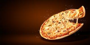 Рогулька и плакат концепции выдвиженческие для ресторанов или pizzerias, очень вкусная пицца морепродуктов вкуса, стоковая фотография