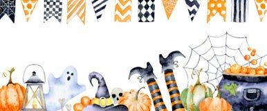 Рогулька на хеллоуин с изображениями акварели атрибутов праздника стоковые фотографии rf