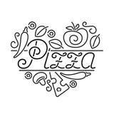 Рогулька с ярлыком сердца пиццы Стоковые Фотографии RF