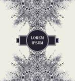 Рогулька шаблона или предпосылка ярлыка от винтажного абстрактного флористического орнамента черным по белому Стоковые Фотографии RF