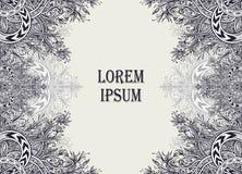 Рогулька шаблона или предпосылка ярлыка от винтажного абстрактного флористического орнамента черным по белому Стоковые Фото