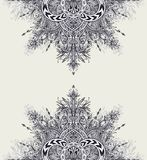 Рогулька шаблона или предпосылка ярлыка от винтажного абстрактного флористического орнамента черным по белому Стоковая Фотография RF