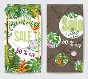 2 рогульки скидки с тропическими листьями Стоковая Фотография