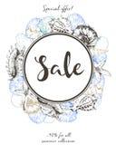 Рогулька вектора продажи лета Украшенный с покрашенными seashells Искусство нарисованное рукой винтажное Стоковая Фотография RF