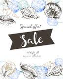 Рогулька вектора продажи лета Украшенный с seashells и знаменем ленты Искусство нарисованное рукой винтажное Стоковые Фото