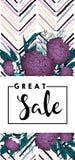 Рогулька вектора для большой продажи Фиолетовые пионы и пятно щетки шеврона современное в ультрамодных пастельных цветах Стоковые Фото