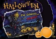 Рогулька или плакат хеллоуина с карточкой, свечой а и sti тыквы Стоковое Изображение