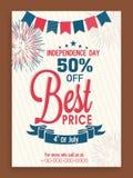 Рогулька или шаблон продажи для американского торжества Дня независимости Стоковое Изображение