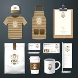 Рогулька кафа ресторана вектора установленная, меню, пакет, футболка, крышка, равномерный дизайн Стоковые Изображения