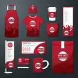 Рогулька кафа ресторана вектора установленная, меню, пакет, футболка, крышка, равномерный дизайн Стоковое Фото