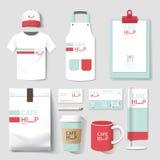 Рогулька кафа ресторана вектора установленная, меню, пакет, футболка, крышка, равномерный дизайн Стоковая Фотография RF