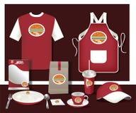 Рогулька кафа ресторана вектора установленная, меню, пакет, футболка, крышка, u Стоковое фото RF