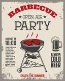 Рогулька партии барбекю под открытым небом Винтажный гриль на backgroun grunge иллюстрация вектора