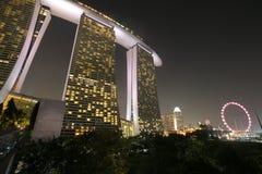 Рогулька Сингапура с песками залива Марины Стоковое Изображение RF