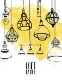 Рогулька с современными лампами просторной квартиры edison, год сбора винограда, ретро электрические лампочки стиля Нарисованная  Стоковое Изображение RF