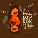 Рогулька хеллоуина с тыквами Стоковые Изображения