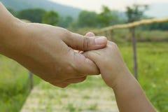 Родитель держит руку предпосылки зеленого цвета маленького ребенка, мягкого фокуса стоковые изображения
