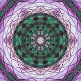 Родная индийская мандала орнамента, зеленых и фиолетовых Стоковые Изображения RF