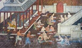 Родная тайская настенная роспись стоковое изображение rf