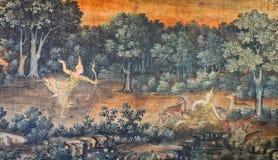Родная тайская настенная роспись стоковая фотография