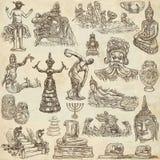 Родное и старое искусство - вручите вычерченное собрание на старой бумаге бесплатная иллюстрация