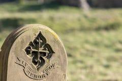 Родословная и родословие Старый могильный камень вписанный с в mem стоковые изображения