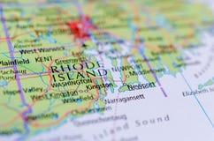 Род-Айленд на карте Стоковые Изображения RF