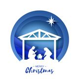 Рождение младенца Иисуса Христоса в кормушке Святейшая семья magi Звезда Вифлеема - восточной кометы Дизайн рождества рождества бесплатная иллюстрация