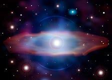 Рождение суперновы Вспышка сверхновой звезды Смерть звезды Сияющая галактика с звездами и черной дырой иллюстрация вектора