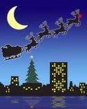Рожденственская ночь santa иллюстрация вектора