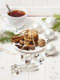Рождества жизнь все еще с печеньями и чаем Стоковые Изображения