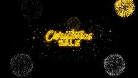 Рождества продажи золотые текста моргать частицы с золотым дисплеем фейерверков иллюстрация вектора