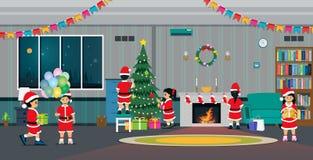 Рождественская вечеринка в живя комнате иллюстрация вектора