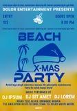 Рождественская вечеринка на шаблоне плаката или летчика пляжа с ладонью и шляпой santas бесплатная иллюстрация