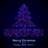 Рождественская елка вектора от цифровой радиотехнической схемы бесплатная иллюстрация