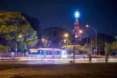 Рождественская елка в парке Ibirapuera в городе Сан-Паулу стоковое изображение rf