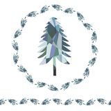 Рождественская елка ели мозаики Венок и бесконечная граница иллюстрация вектора