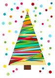 Рождественская елка изолированная в белизне, картине масленицы вектора красочной Праздничная предпосылка с confetti Рождественска Стоковое фото RF