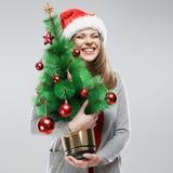 Рождественская елка, изолированный портрет женщины santa Стоковое Изображение