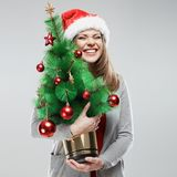 Рождественская елка, изолированный портрет женщины santa Стоковая Фотография