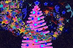 Рождественская елка иллюстрации с красочными игрушками Стоковое Фото